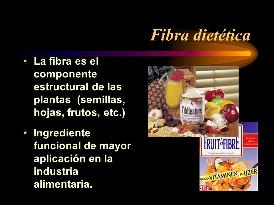 Fibra dietética La fibra es el componente estructural de las plantas (semillas, hojas, frutos, etc.) Ingrediente funcional de mayor aplicación en la i