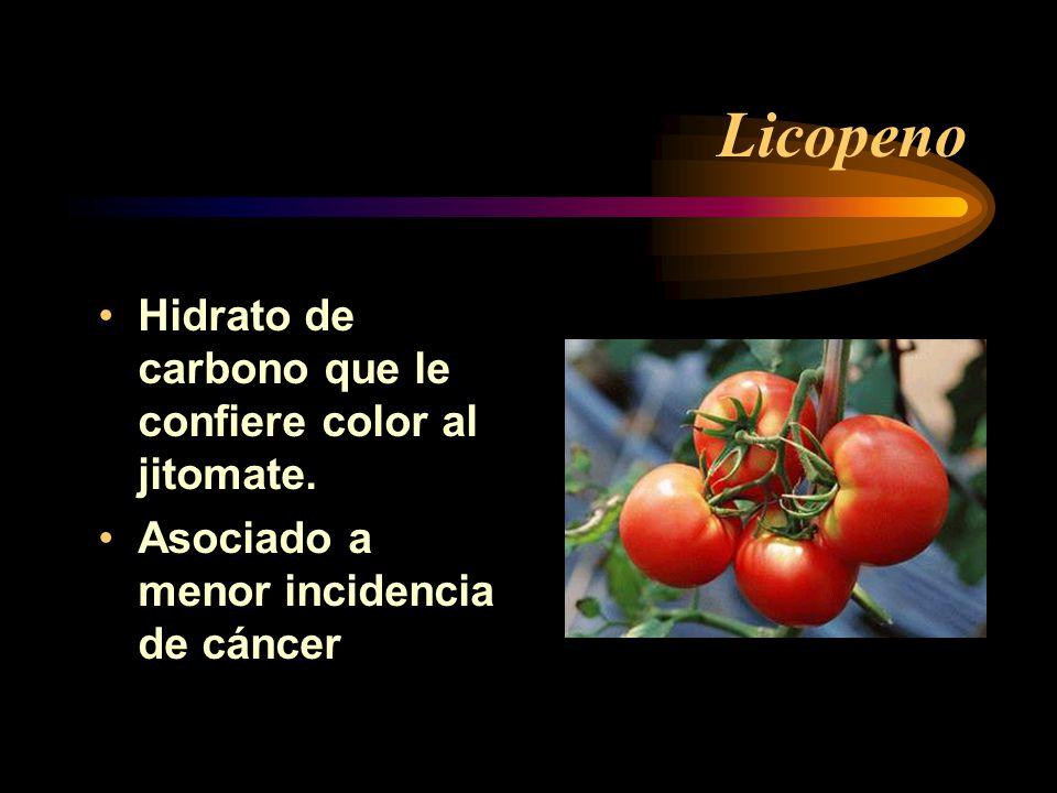Licopeno Hidrato de carbono que le confiere color al jitomate. Asociado a menor incidencia de cáncer