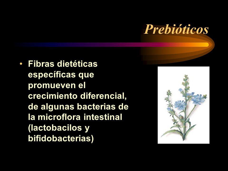 Prebióticos Fibras dietéticas específicas que promueven el crecimiento diferencial, de algunas bacterias de la microflora intestinal (lactobacilos y b