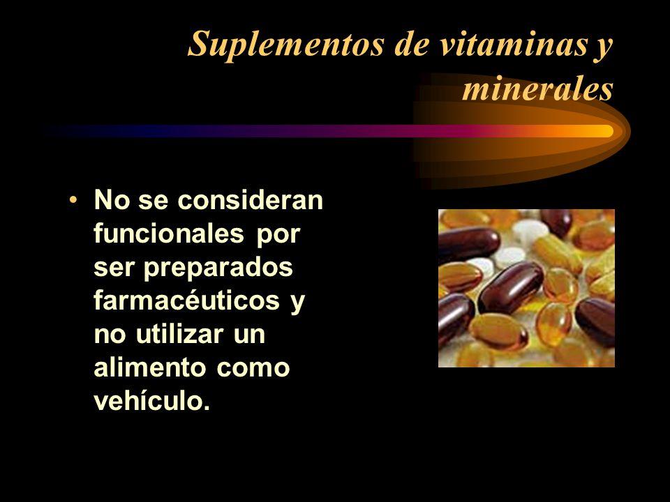 Suplementos de vitaminas y minerales No se consideran funcionales por ser preparados farmacéuticos y no utilizar un alimento como vehículo.