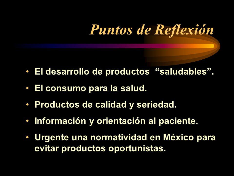 Puntos de Reflexión El desarrollo de productos saludables. El consumo para la salud. Productos de calidad y seriedad. Información y orientación al pac
