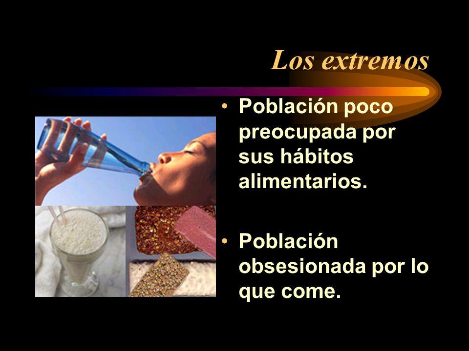 Los extremos Población poco preocupada por sus hábitos alimentarios. Población obsesionada por lo que come.