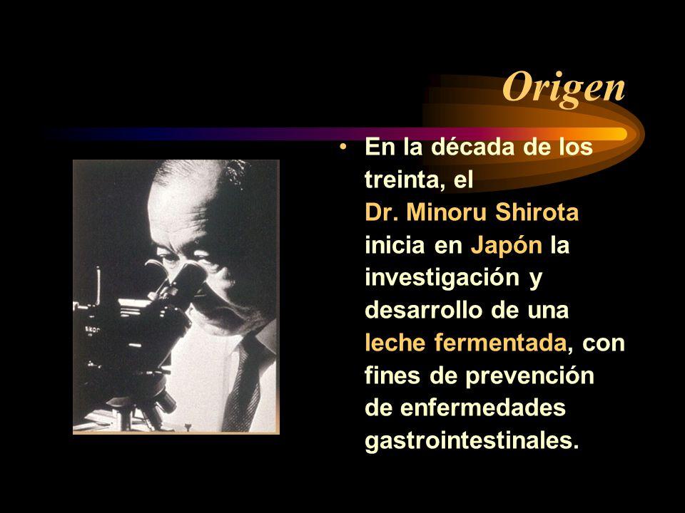 Origen En la década de los treinta, el Dr. Minoru Shirota inicia en Japón la investigación y desarrollo de una leche fermentada, con fines de prevenci