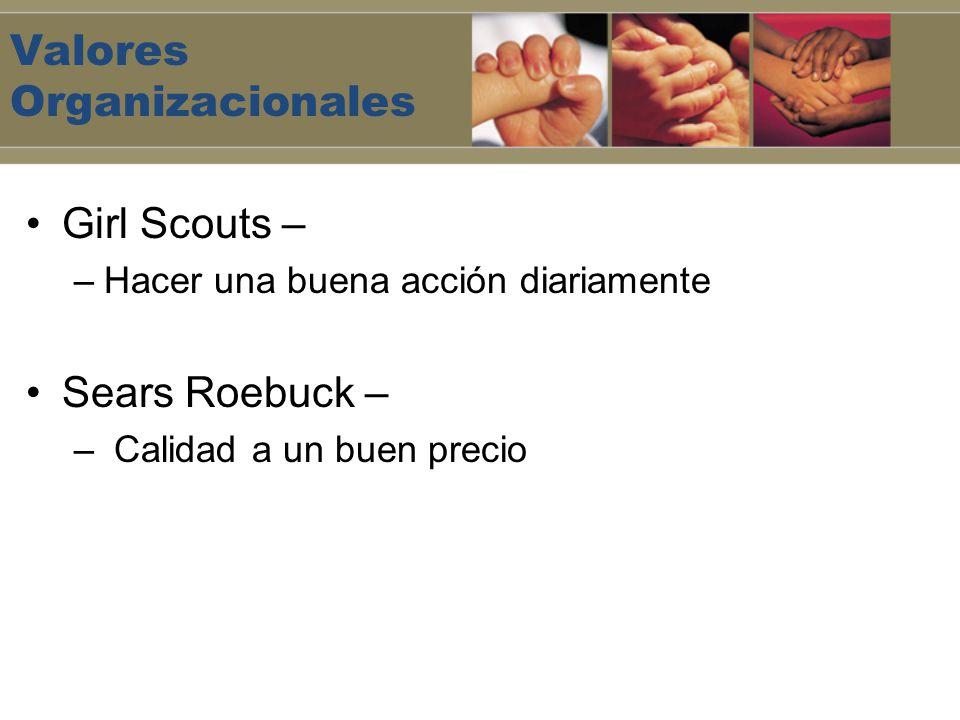 Valores Organizacionales Girl Scouts – –Hacer una buena acción diariamente Sears Roebuck – – Calidad a un buen precio