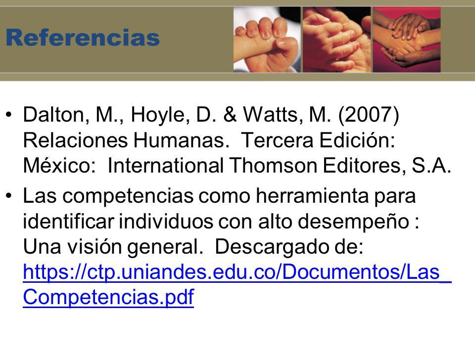 Referencias Dalton, M., Hoyle, D. & Watts, M. (2007) Relaciones Humanas. Tercera Edición: México: International Thomson Editores, S.A. Las competencia