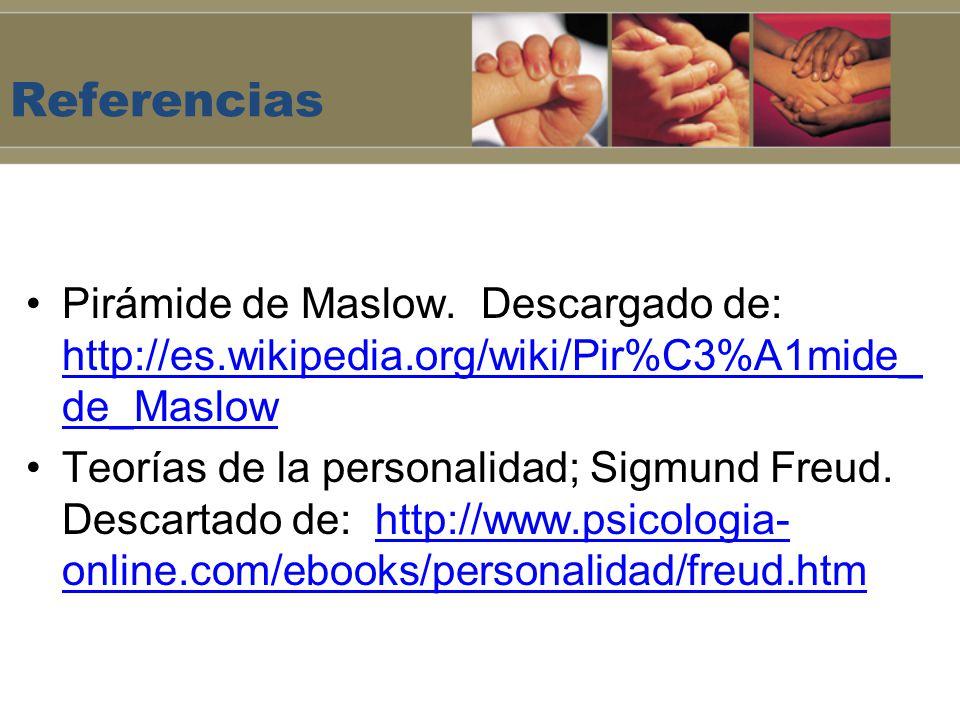 Referencias Pirámide de Maslow. Descargado de: http://es.wikipedia.org/wiki/Pir%C3%A1mide_ de_Maslow http://es.wikipedia.org/wiki/Pir%C3%A1mide_ de_Ma