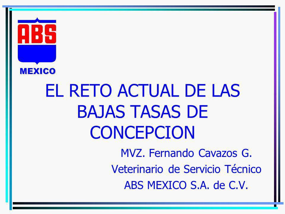 EL RETO ACTUAL DE LAS BAJAS TASAS DE CONCEPCION MVZ. Fernando Cavazos G. Veterinario de Servicio Técnico ABS MEXICO S.A. de C.V. MEXICO