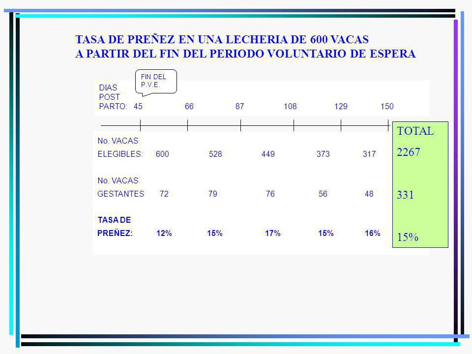 TASA DE PREÑEZ FACTORES QUE LA DETERMINAN TASA DE SERVICIOS % DE VACAS EXPUESTAS A SEMEN TASA DE CONCEPCIÓN (% FERTILIDAD) TASA DE PREÑEZ 34 META: 65 % EXCEPCIONAL 72 %42 % META: 35 %