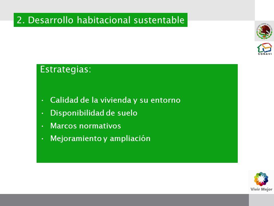 Estrategias: Calidad de la vivienda y su entorno Disponibilidad de suelo Marcos normativos Mejoramiento y ampliación 2.