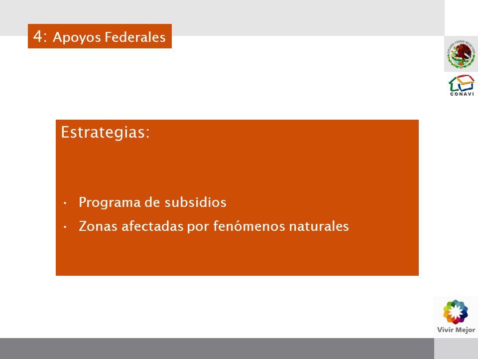 Estrategias: Programa de subsidios Zonas afectadas por fenómenos naturales 4: Apoyos Federales