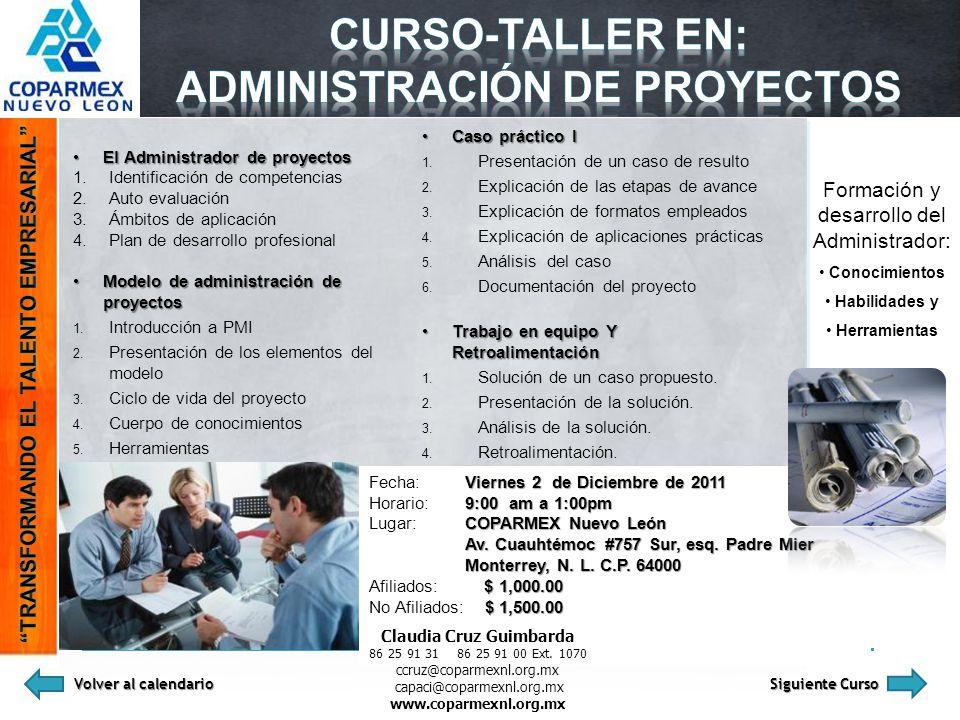 El Administrador de proyectosEl Administrador de proyectos 1.Identificación de competencias 2.Auto evaluación 3.Ámbitos de aplicación 4.Plan de desarr