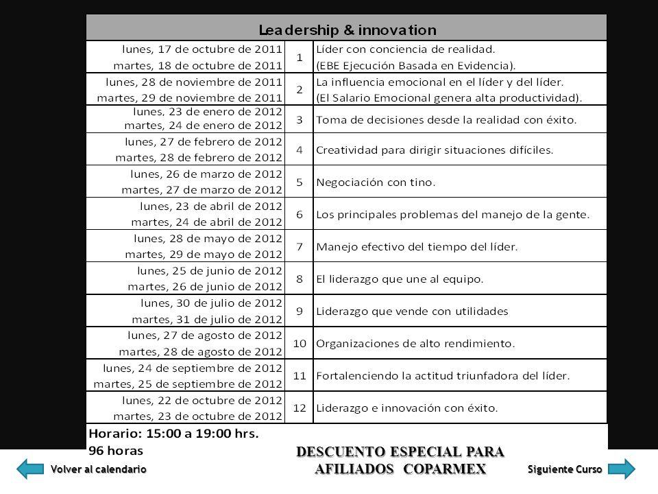 Volver al calendario Volver al calendario Siguiente Curso Siguiente Curso DESCUENTO ESPECIAL PARA AFILIADOS COPARMEX