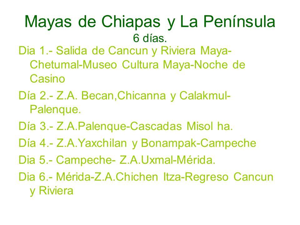 Mayas de Chiapas y La Península 6 días. Dia 1.- Salida de Cancun y Riviera Maya- Chetumal-Museo Cultura Maya-Noche de Casino Día 2.- Z.A. Becan,Chican