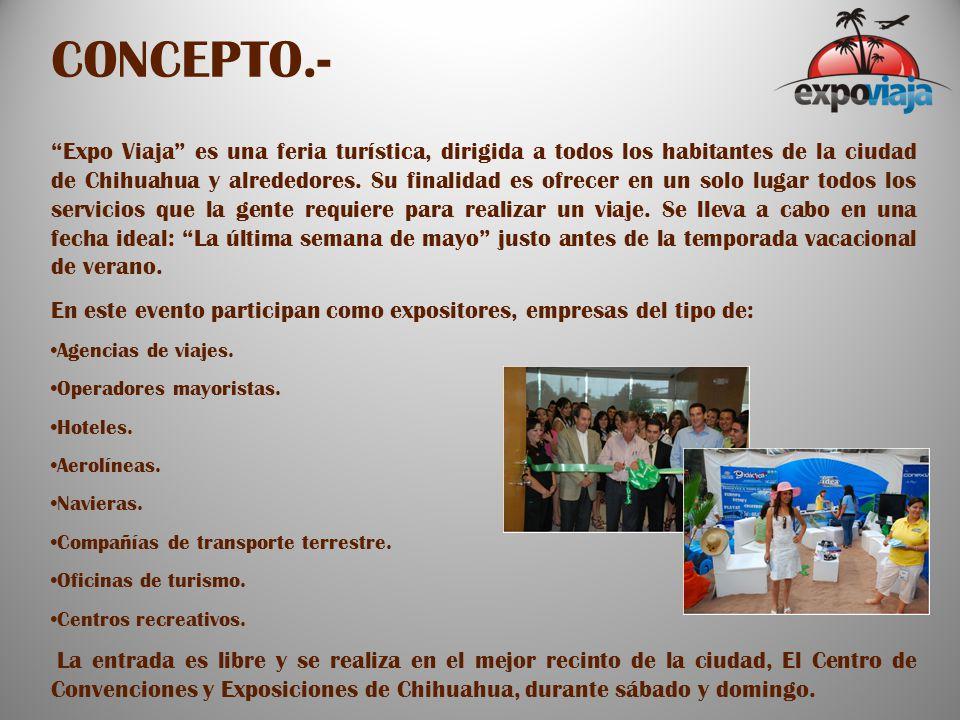 CONCEPTO.- Expo Viaja es una feria turística, dirigida a todos los habitantes de la ciudad de Chihuahua y alrededores.