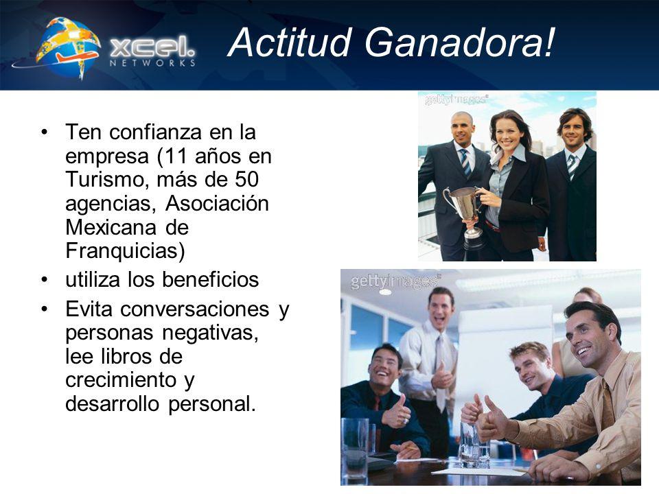 Actitud Ganadora! Ten confianza en la empresa (11 años en Turismo, más de 50 agencias, Asociación Mexicana de Franquicias) utiliza los beneficios Evit