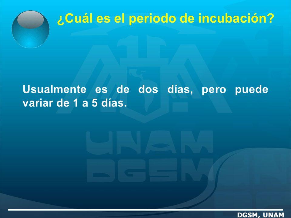 ¿Cuál es el periodo de incubación? DGSM, UNAM Usualmente es de dos días, pero puede variar de 1 a 5 días.
