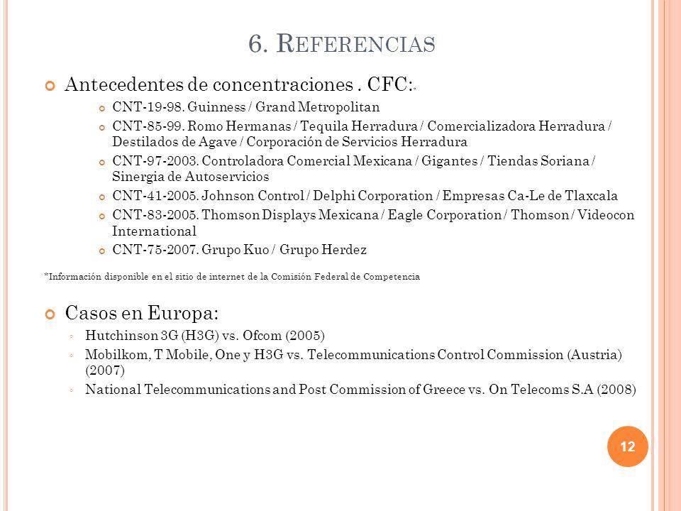 6. R EFERENCIAS Antecedentes de concentraciones. CFC: * CNT-19-98.