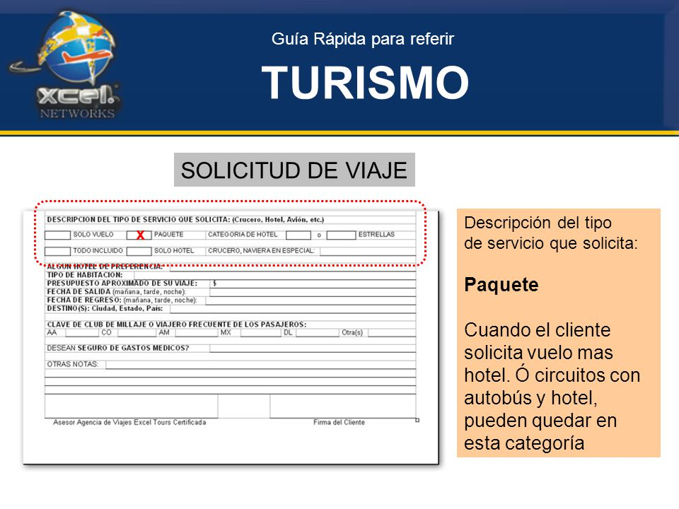 Guía Rápida para referir TURISMO SOLICITUD DE VIAJE Descripción del tipo de servicio que solicita: Paquete Cuando el cliente solicita vuelo mas hotel.