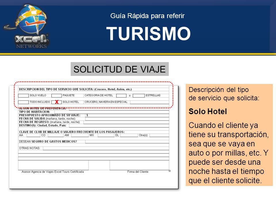 Guía Rápida para referir TURISMO SOLICITUD DE VIAJE Descripción del tipo de servicio que solicita: Solo Hotel Cuando el cliente ya tiene su transportación, sea que se vaya en auto o por millas, etc.