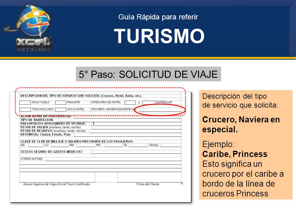 Guía Rápida para referir TURISMO 5° Paso: SOLICITUD DE VIAJE Descripción del tipo de servicio que solicita: Crucero, Naviera en especial.