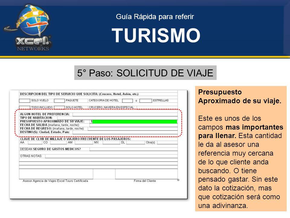 Guía Rápida para referir TURISMO 5° Paso: SOLICITUD DE VIAJE Presupuesto Aproximado de su viaje.