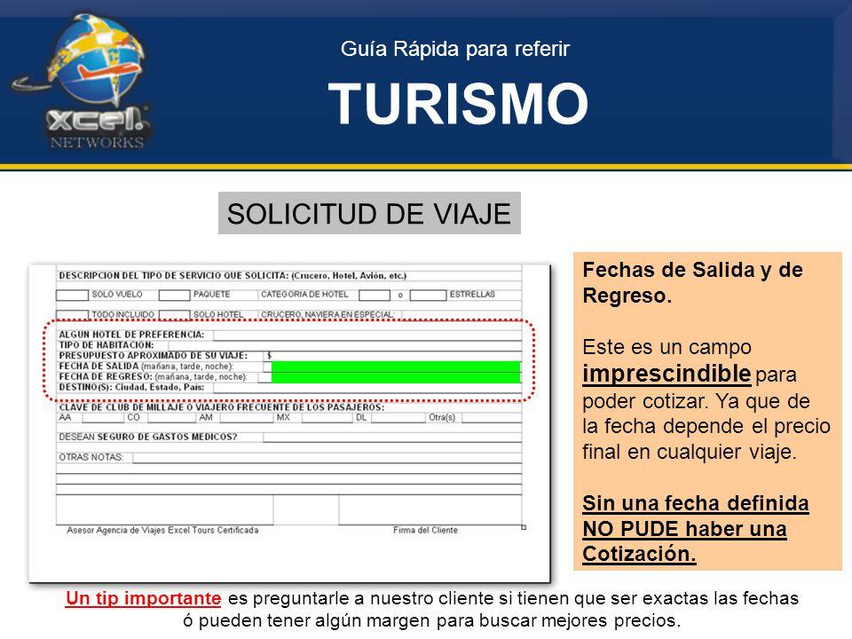 Guía Rápida para referir TURISMO SOLICITUD DE VIAJE Fechas de Salida y de Regreso.