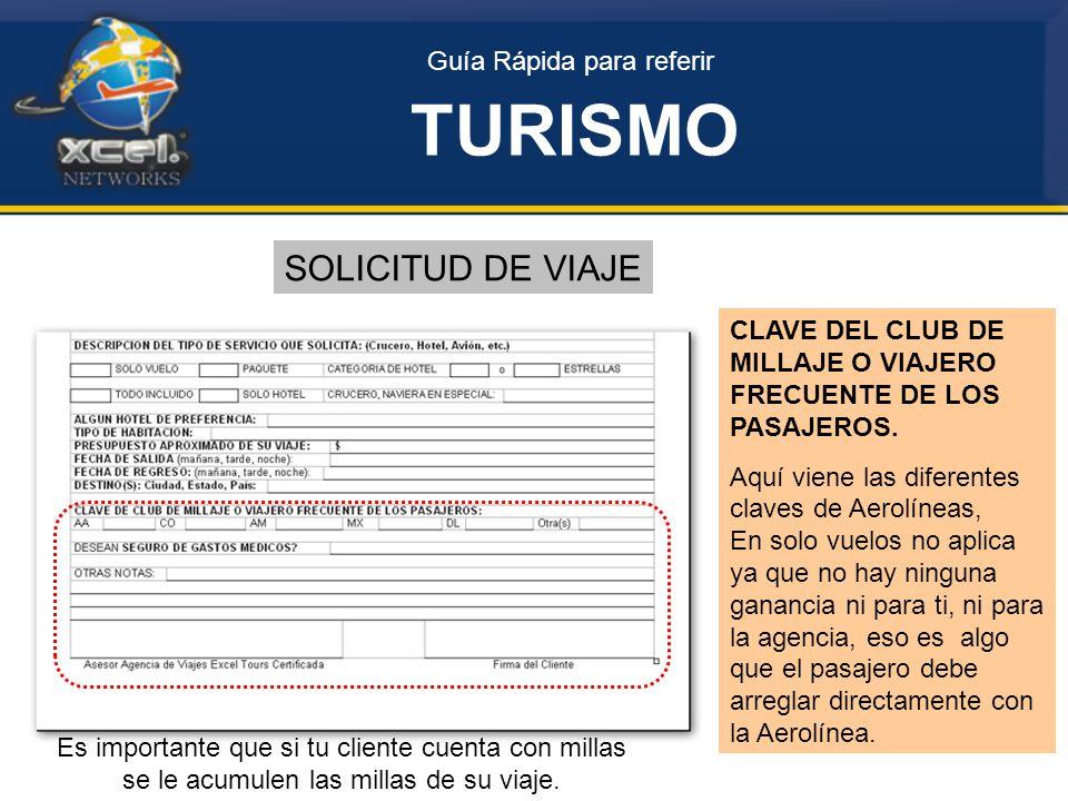 Guía Rápida para referir TURISMO SOLICITUD DE VIAJE CLAVE DEL CLUB DE MILLAJE O VIAJERO FRECUENTE DE LOS PASAJEROS.