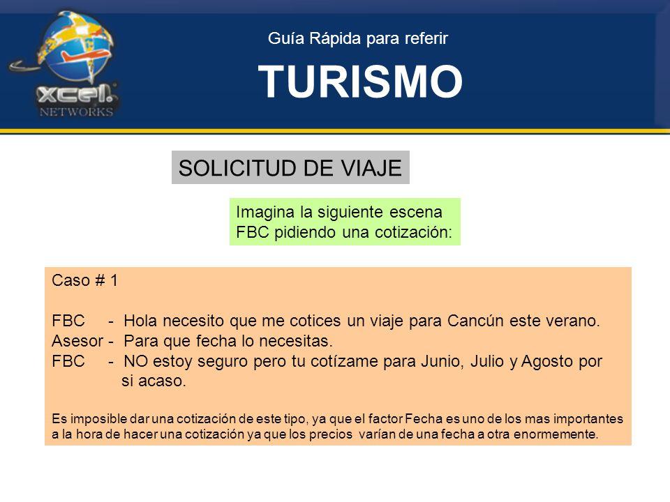 Guía Rápida para referir TURISMO SOLICITUD DE VIAJE Imagina la siguiente escena FBC pidiendo una cotización: Caso # 1 FBC - Hola necesito que me cotices un viaje para Cancún este verano.