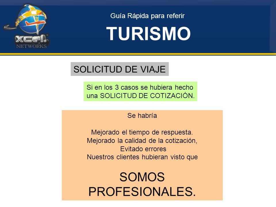 Guía Rápida para referir TURISMO SOLICITUD DE VIAJE Si en los 3 casos se hubiera hecho una SOLICITUD DE COTIZACIÓN.