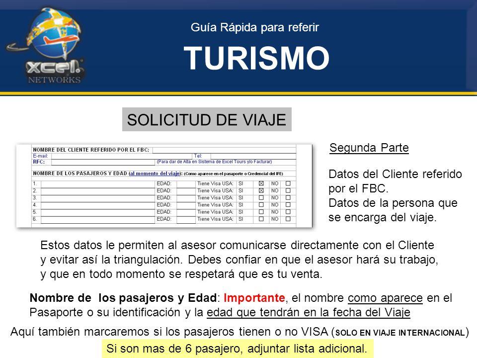 Guía Rápida para referir TURISMO SOLICITUD DE VIAJE Segunda Parte Datos del Cliente referido por el FBC.