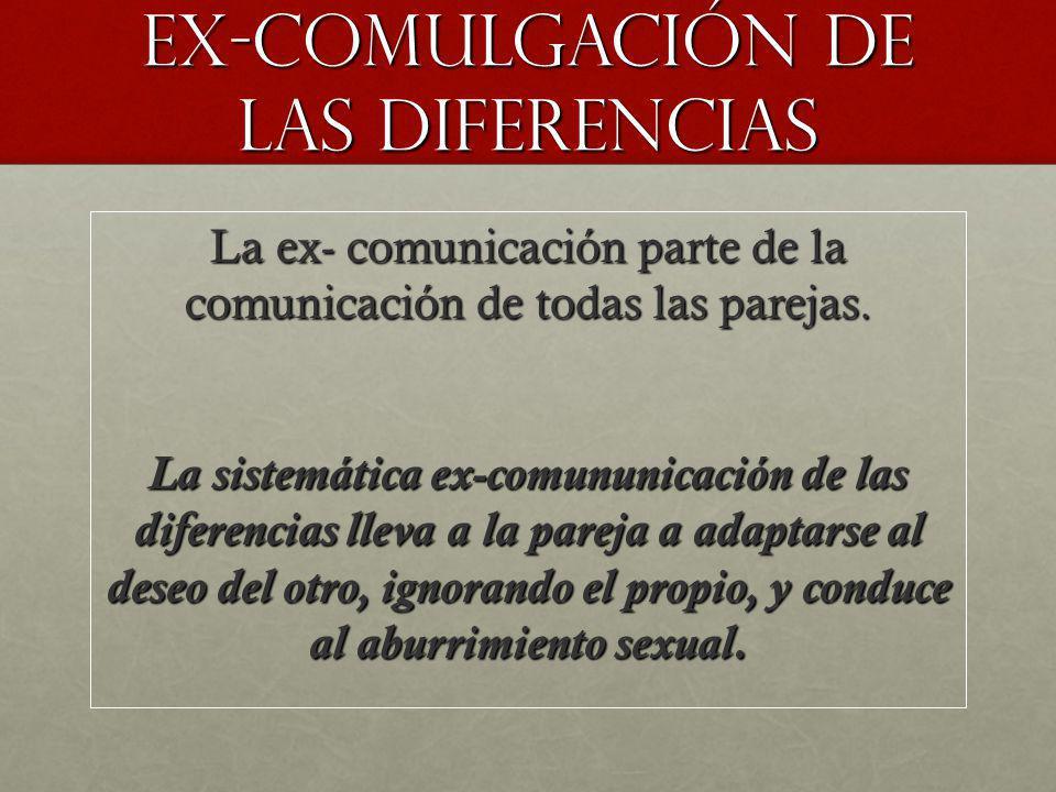 Ex-comulgación de las diferencias La ex- comunicación parte de la comunicación de todas las parejas. La sistemática ex-comununicación de las diferenci