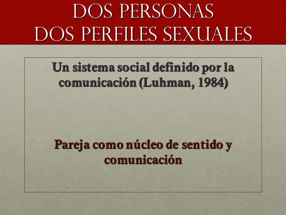 DOS PERSONAS DOS PERFILES SEXUALES Un sistema social definido por la comunicación (Luhman, 1984) Pareja como núcleo de sentido y comunicación
