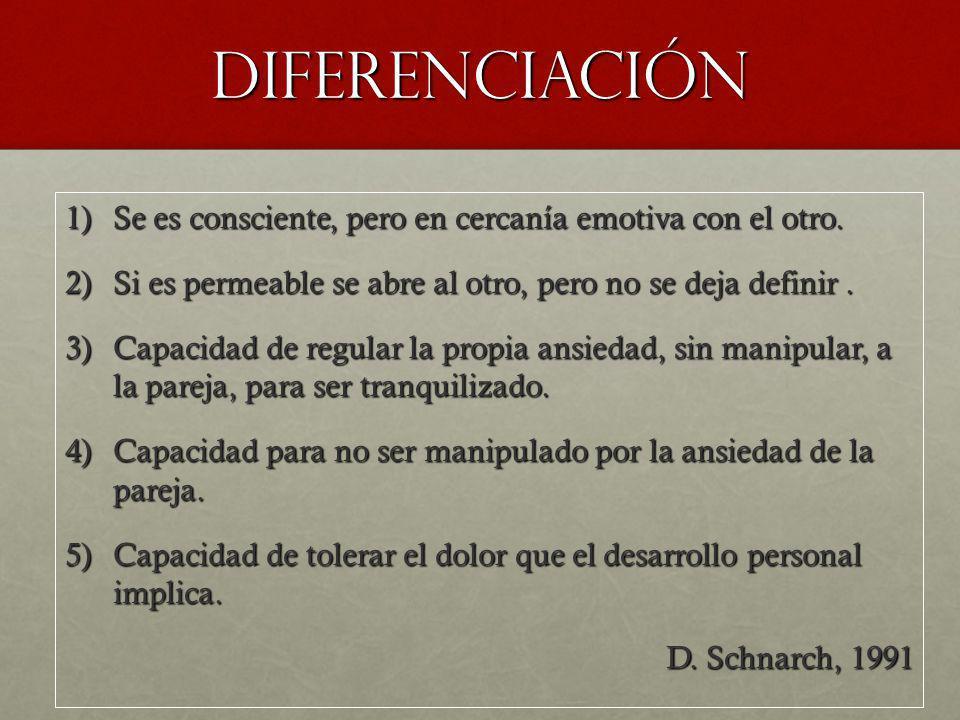 DIFERENCIACIÓN 1)Se es consciente, pero en cercanía emotiva con el otro. 2)Si es permeable se abre al otro, pero no se deja definir. 3)Capacidad de re