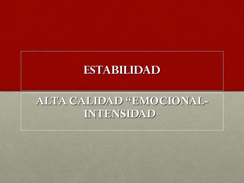 ESTABILIDAD ALTA CALIDAD EMOCIONAL- INTENSIDAD ALTA CALIDAD EMOCIONAL- INTENSIDAD