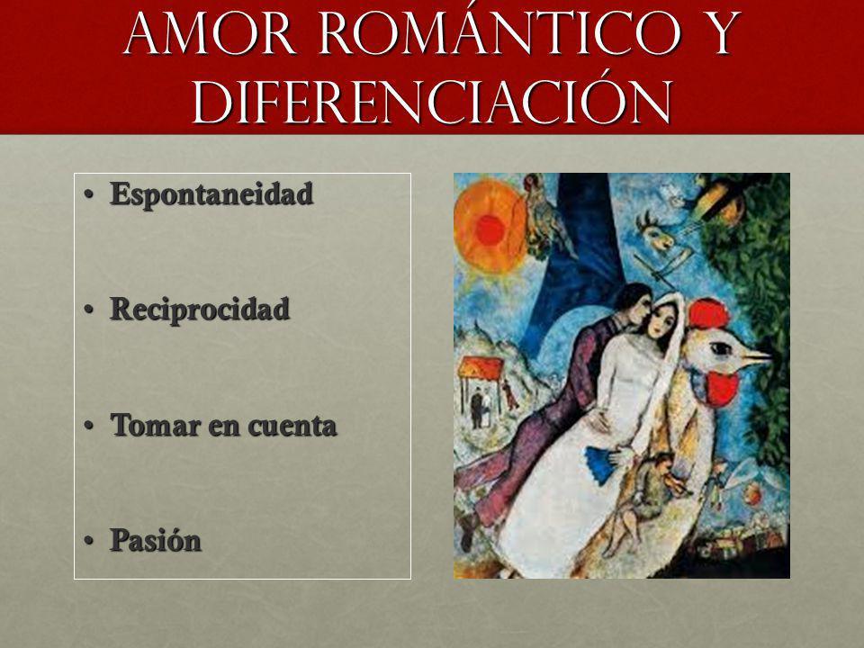 Amor romántico Y DIFERENCIACIÓN Espontaneidad Espontaneidad Reciprocidad Reciprocidad Tomar en cuenta Tomar en cuenta Pasión Pasión