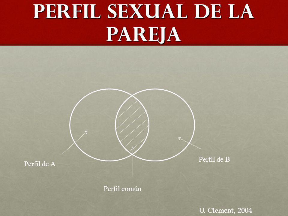 Perfil sexual de la pareja Perfil de A Perfil de B Perfil común U. Clement, 2004
