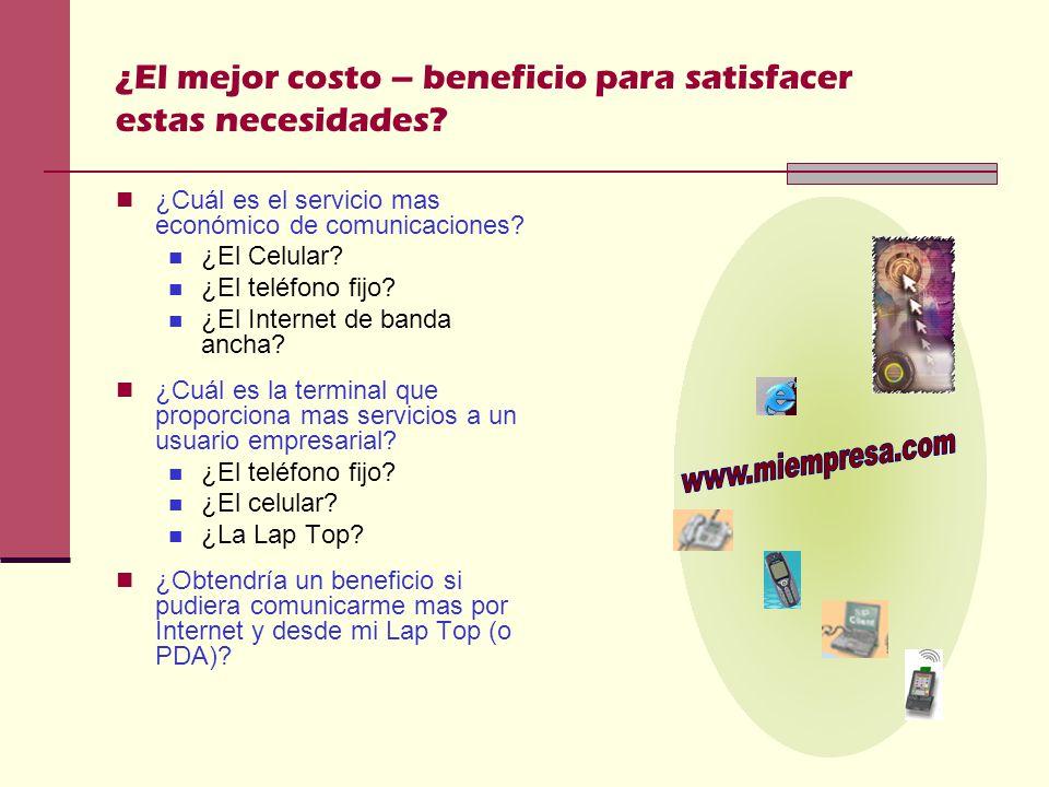 ¿El mejor costo – beneficio para satisfacer estas necesidades.