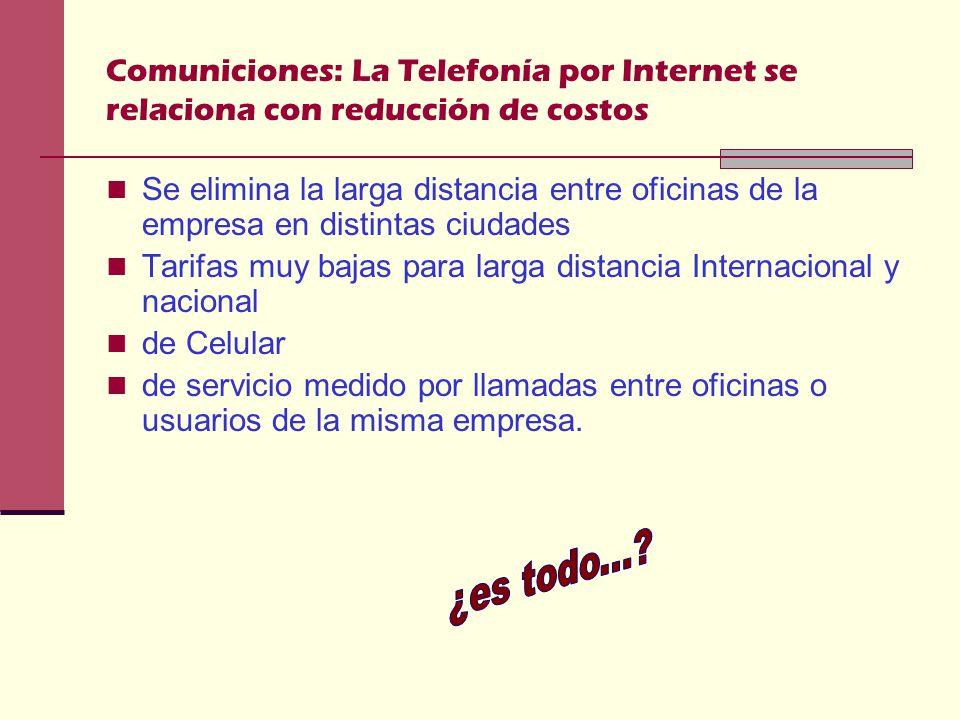 Comuniciones: La Telefonía por Internet se relaciona con reducción de costos Se elimina la larga distancia entre oficinas de la empresa en distintas ciudades Tarifas muy bajas para larga distancia Internacional y nacional de Celular de servicio medido por llamadas entre oficinas o usuarios de la misma empresa.