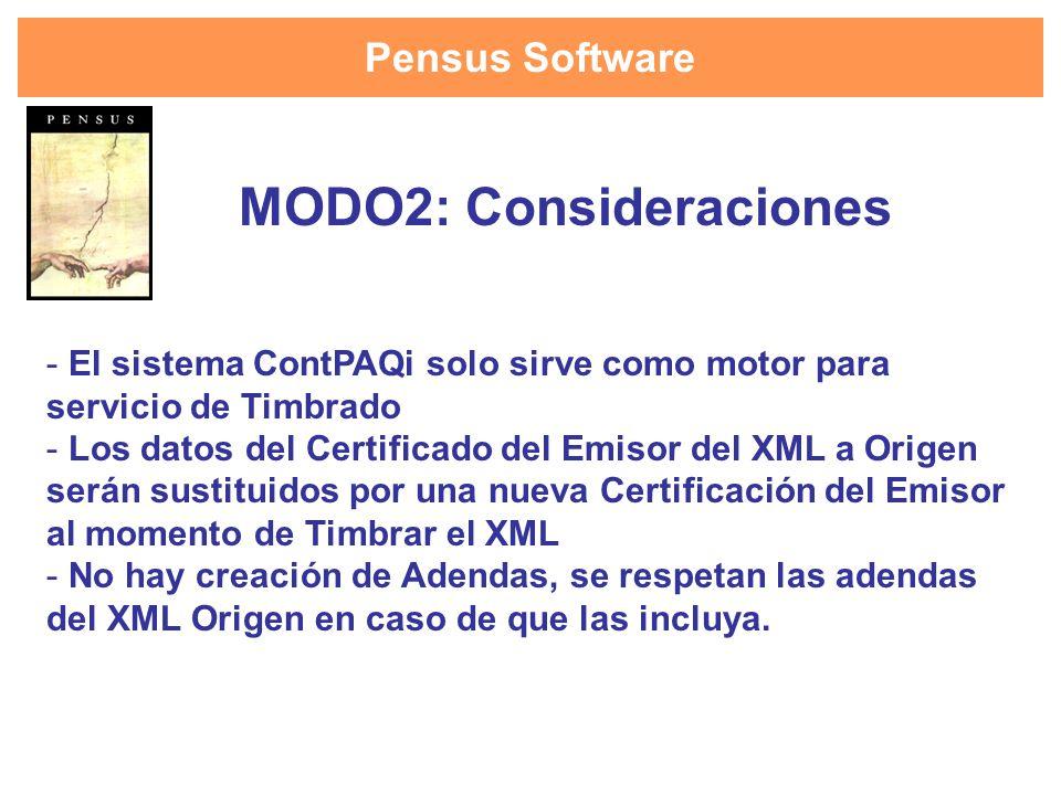 Pensus Software - El sistema ContPAQi solo sirve como motor para servicio de Timbrado - Los datos del Certificado del Emisor del XML a Origen serán su