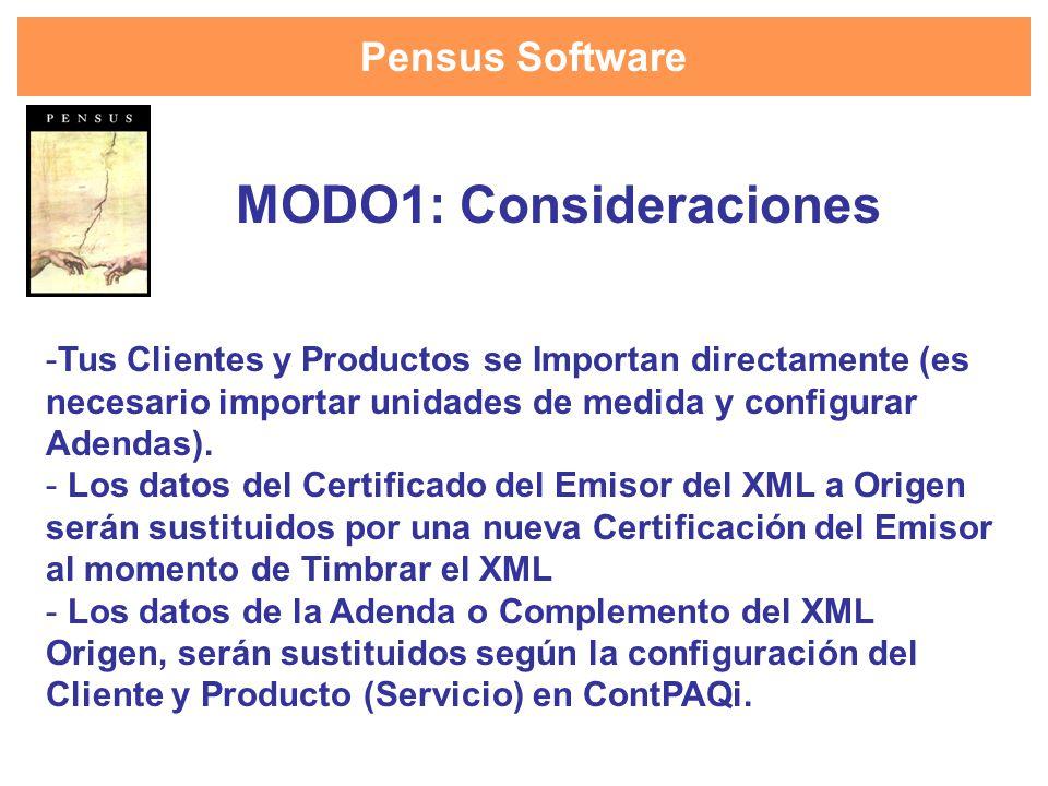 Pensus Software - Es necesario configurar las Adendas y Complementos en el catálogo de Clientes y Productos(Servicios) en ContPAQi para que la generación del XML con timbre incluya dicha información.
