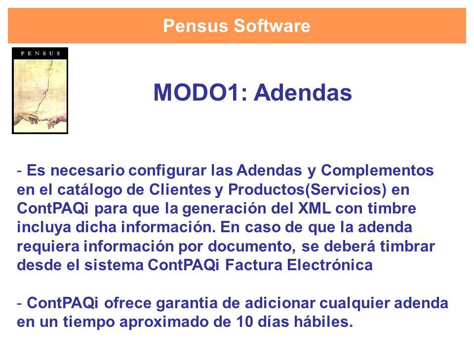 Pensus Software - Es necesario configurar las Adendas y Complementos en el catálogo de Clientes y Productos(Servicios) en ContPAQi para que la generac