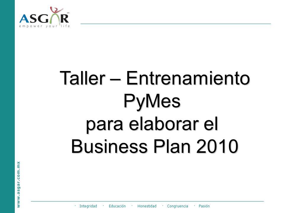 · Integridad · Educación · Honestidad · Congruencia · Pasión Taller – Entrenamiento PyMes para elaborar el Business Plan 2010
