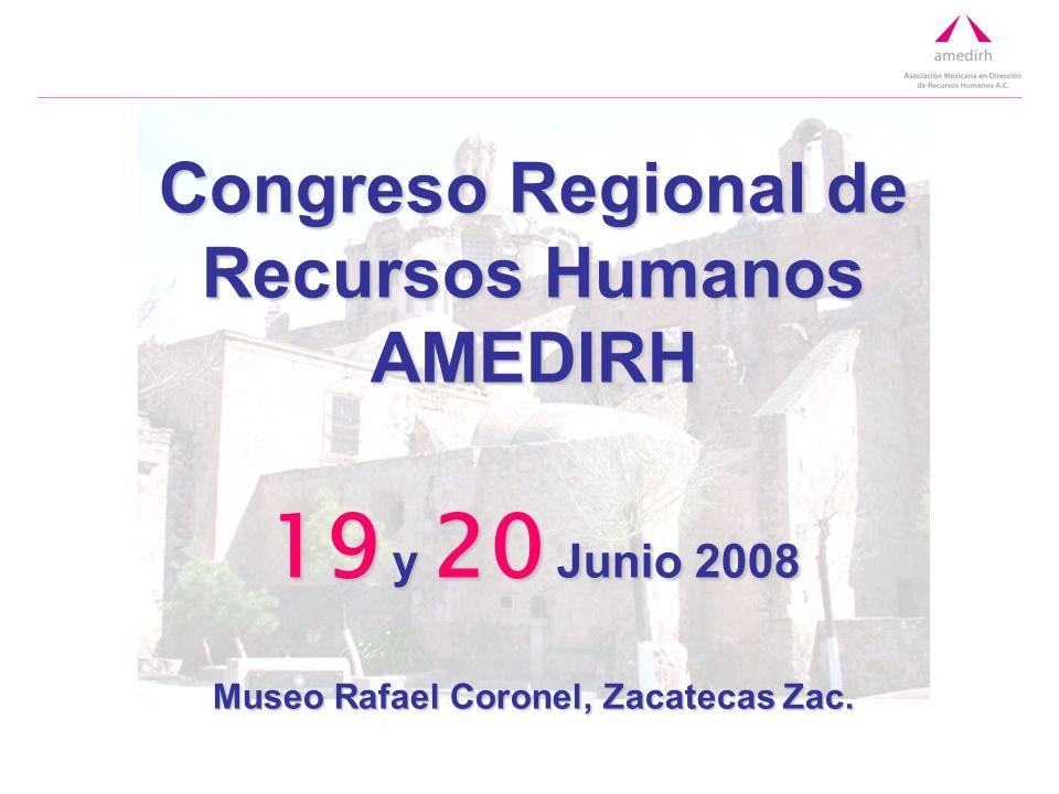 Congreso Regional de Recursos Humanos AMEDIRH 19 y 20 Junio 2008 Museo Rafael Coronel, Zacatecas Zac.