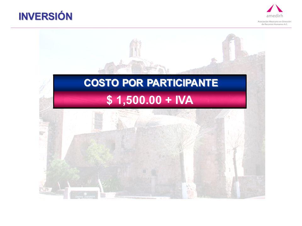 $ $ 1,500.00 + IVA COSTO POR PARTICIPANTE INVERSIÓN