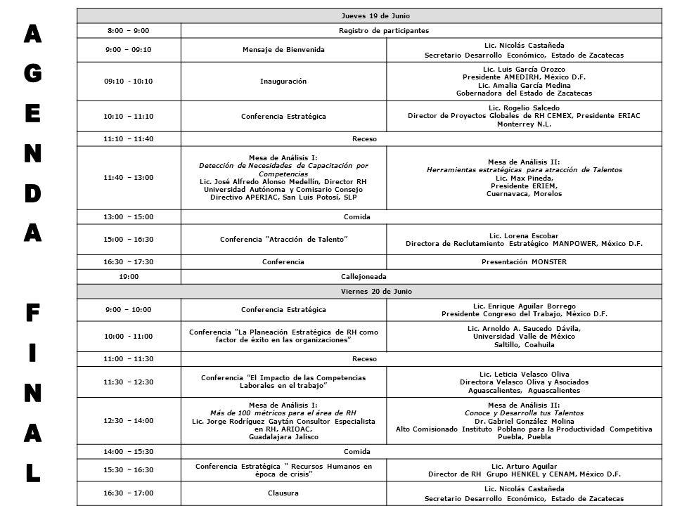 Jueves 19 de Junio 8:00 – 9:00 Registro de participantes 9:00 – 09:10Mensaje de Bienvenida Lic.