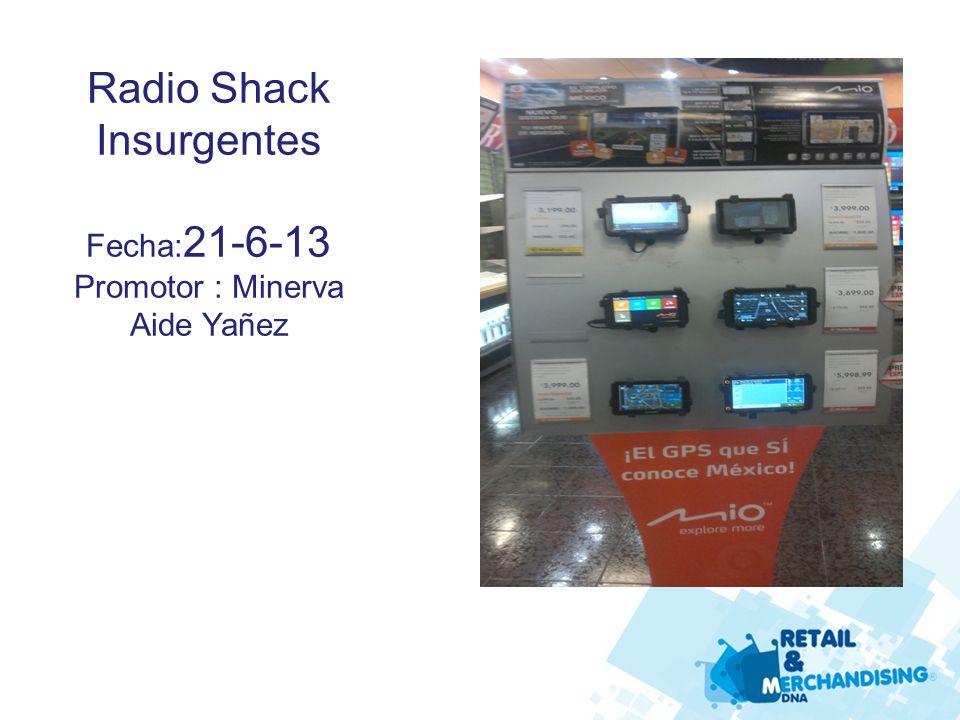 Radio Shack Insurgentes Fecha: 21-6-13 Promotor : Minerva Aide Yañez