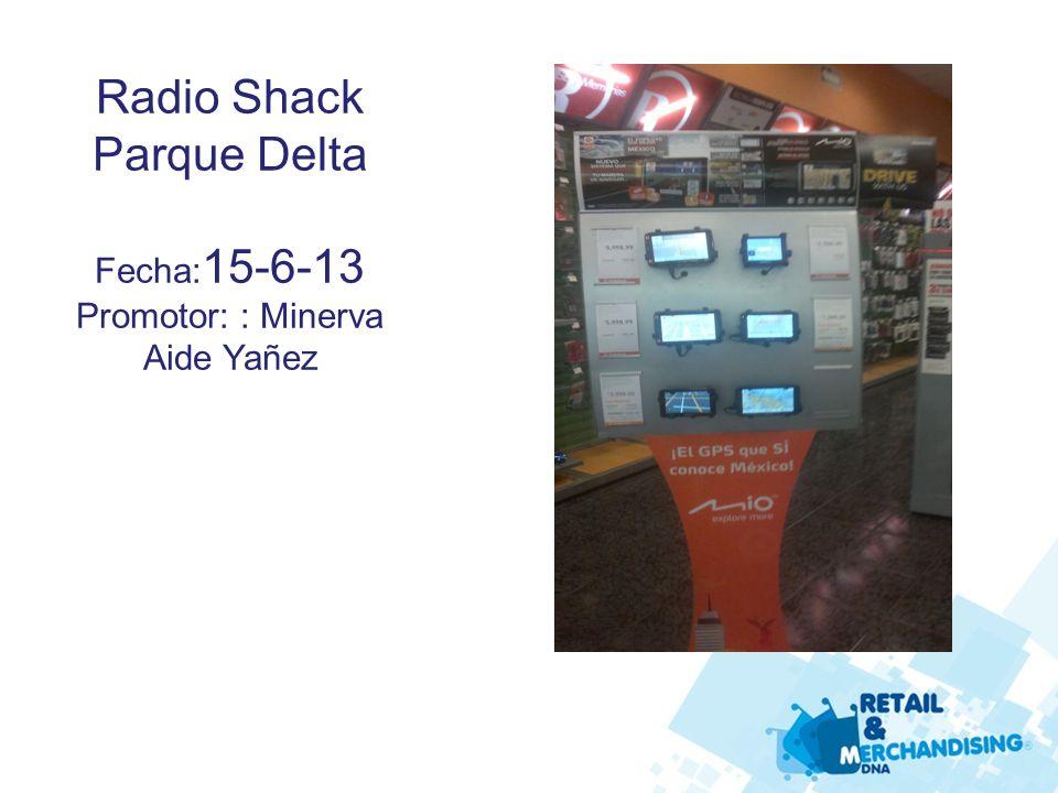 Radio Shack Parque Delta Fecha: 15-6-13 Promotor: : Minerva Aide Yañez