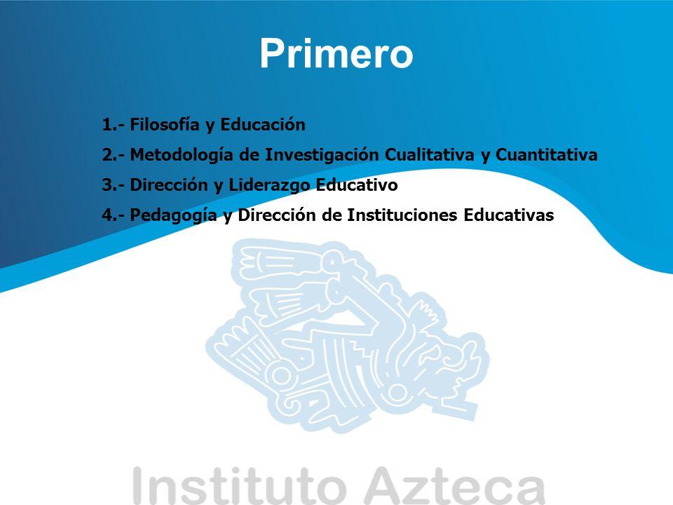 Segundo 1.- El Proceso Administrativo en la Escuela 2.- Generalidades de Psicología Evolutiva 3.- Planeación de Instituciones Educativas 4.- Didáctica y Dirección de Instituciones Educativas
