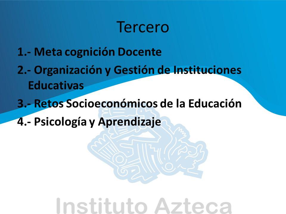 Cuarto 1.- Avances Tecnológicos y sus Implicaciones en la Dirección de Instituciones Educativas 2.- Control y Efectividad Institucionales 3.- Desafíos Sociales y Organizacionales en Instituciones Educativas
