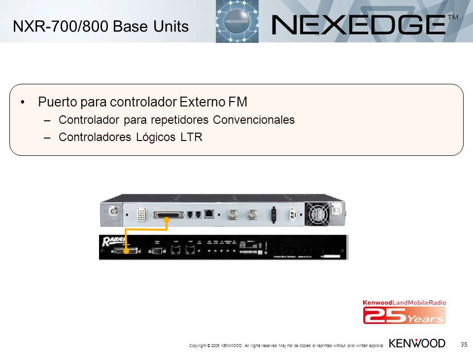 Copyright © 2005 KENWOOD All rights reserved. May not be copied or reprinted without prior written approval. 35 NXR-700/800 Base Units Puerto para con
